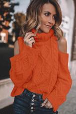 Oranssi Turtleneck Cold Shoulder -huppari