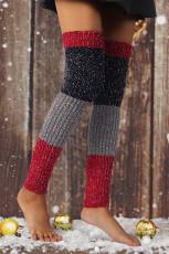 Вязаные носки выше колена с цветными блоками Snowflake