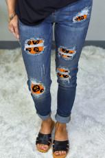 Patch de estampa de Halloween destruída jeans skinny