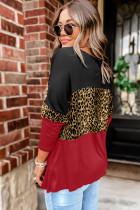 Темно-красный топ с длинными рукавами в стиле пэчворк с цветными блоками и леопардовым принтом