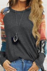 Серый трикотажный топ с принтом тай-дай и рукавами реглан с рукавами реглан из вафельной ткани