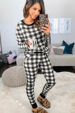 Black Plaid Two Pieces Loungewear