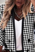 Черный двубортный пиджак с длинным рукавом в гусиные лапки