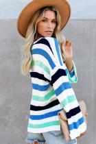 Синий повседневный вязаный свитер в полоску со свободными расклешенными рукавами