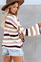 Sweater Rajut Bergaris Lengan Lonceng Longgar Kasual Merah Muda