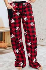 Повседневные свободные брюки с рождественским принтом Red Buffalo Plaid Snowflake