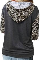 Leopard Print Patchwork Hoodie with Kangaroo Pocket
