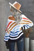 Sweater Rajut Leher V Dikepang Multicolor Stripe Bubblegum
