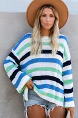 Sweater Rajut Bergaris Lengan Lonceng Biru Kasual