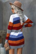 Cardigan con tasche a righe multicolore