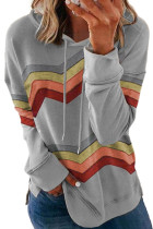 Gray Geometry Color Block Stripe Drawstring Hoodie