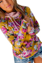 Yellow Cowl Neck Floral Print Hoodie with Striped Detail