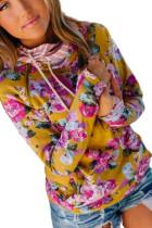 Желтый худи с цветочным принтом и полосатой отделкой с воротником-хомутом
