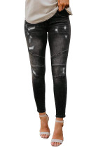 Black Distrated Patchwork Jeans Skinny