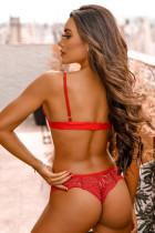 3 pcs Red Fan-shaped Lace Ruffled Mesh Bralette Set