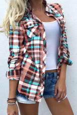 Рубашка с длинным рукавом и карманом в разноцветную клетку на пуговицах