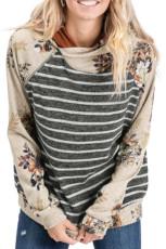 Серый худи с длинным рукавом в полоску из смесового хлопка с цветочным принтом