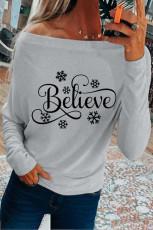 Топ с открытыми плечами и длинными рукавами Believe Snowflake