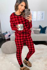 Rød Plaid Two Pieces Loungewear