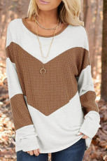 Atasan Lengan Panjang Waffle Knit Aksen Coklat