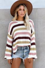 Розовый повседневный вязаный свитер в полоску со свободными расклешенными рукавами