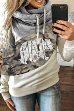 MAMA Camo Print Accent Colorblock Splicing Hoodie