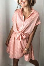 Rochie mini cu mânecă scurtă cu guler de cămașă roz