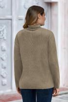 Khaki Vanlig Turtleneck Ribbet Plus Size Topp