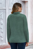 Turtleneck Green Plain Ribbed Plus Size Size Top