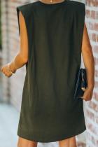 Mini rochie de buzunar din bumbac, fără mâneci, cu umăr căptușit verde