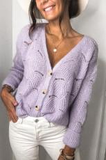 Purple V Shaped Neckline Buttoned Knit Sweater