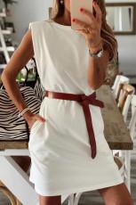 Mini rochie din bumbac, fără mâneci, umărată, fără mâneci