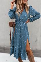 Blauwe knoop polka dot hoge split gegolfde midi-jurk