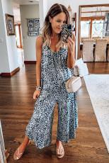 Jumpsuit Adjustable Leopard Blue