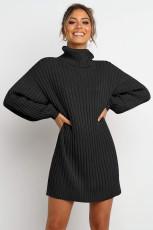 Rochie pulover negru cu mânecă balon cu mânecă balon