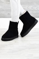 Черные резиновые плюшевые теплые зимние ботинки на молнии
