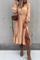Abrikoos knoop polkadot midi-jurk met hoge split en ruches