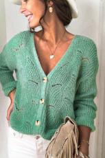 Sweaterê girêbayî yê qewlkirî yê qulikê kesk V