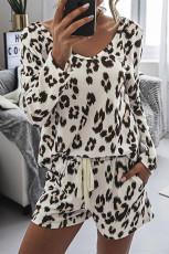 Leopard Top û Drawstring Pocket Shorts Du-perçe Set