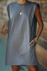 Grå polstret skulder ermeløs minikjole med lomme i bomull