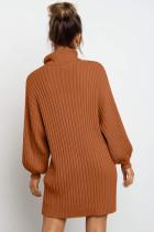 Rochie pulover maro cu mânecă balon cu manșon balon