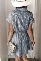 Polka Dot skjorte krage kort ermet mini kjole