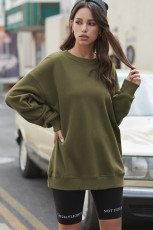 Green Crew Neck Drop-shoulder Long Sleeve Pullover Sweatshirt