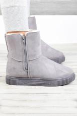 Серые резиновые плюшевые теплые зимние ботинки на молнии