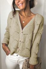 Khaki V Shaped Neckline Buttoned Knit Sweater