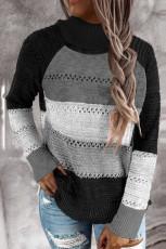 Black Highlight Colorblock Turtleneck Pullover Sweater