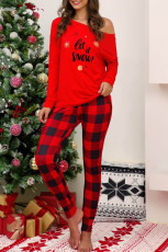 Red Letter Letter Print Plaid Pajama Set