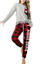 Red Letter Print Pocket Plaid Pajama Set
