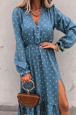 Blå knapp Polka Dot High Slit Ruffled Midi kjole