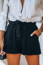 Black Cotton Pocketed Paper Bag Waist Shorts